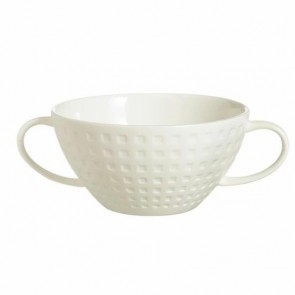 Porcelain soup bowl with handle 10oz / 30cl square geometric patterns