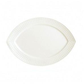 "Porcelain flat oval plate 9"" x 5"" (22.5 x 15cm) white with square geometric patterns"