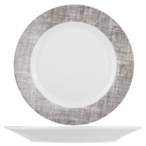 "Round dessert plate 7"" / 19cm white and grey porcelain - Set of 6"