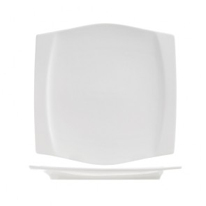 "Square porcelain dessert plate 8""/21.6cm white - Sold by 6"