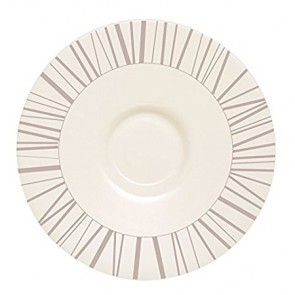 "Beige zenix round saucer 6.3"" / 16cm with taupe-coloured scattered stick design"