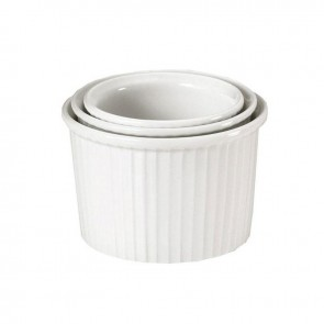 "Porcelain pleated deep soufflé dish 61oz / 180cl white 7"" / 18.5cm"
