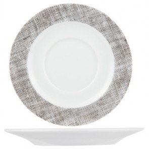 "Round flat plate 9"" / 24cm white and grey porcelain - Set of 6"