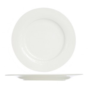 "Round flat porcelain plate white 9"" / 23cm - Set of 4"