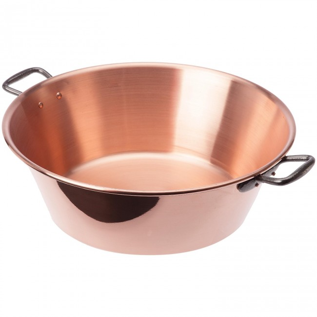"Copper jam pan / bowl 15"" / 37cm with cast iron handle"
