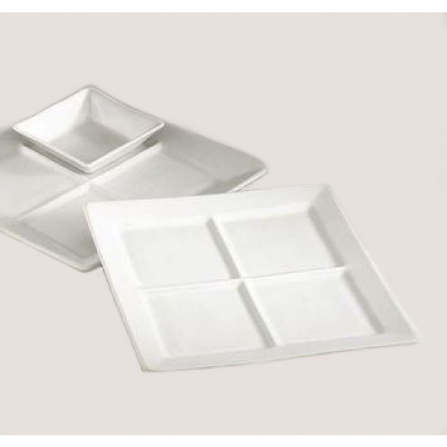 Assiette carrée 4 compartiments blanche 25x25cm en porcelaine - Pillivuyt