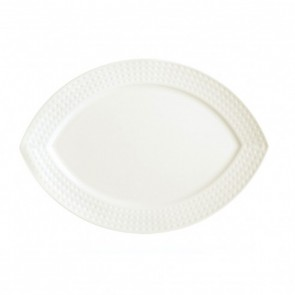 "Porcelain flat oval plate 10"" x 7"" (26 x 19cm) white with square geometric patterns"