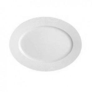 "Porcelain oval plate 11"" / 29 x 9"" / 22cm white refined straight lines pattern"