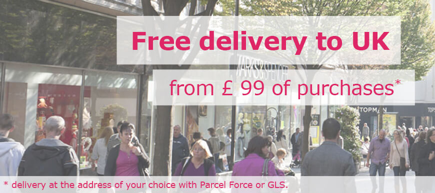 Free delivery to UK from £ 49 of purchases